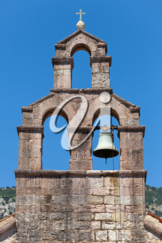 Serbian Orthodox Church bell tower in Petrovac town, Montenegro