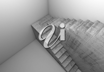 Top view of concrete stairway in white empty room, abstract architectural background, 3d render illustration