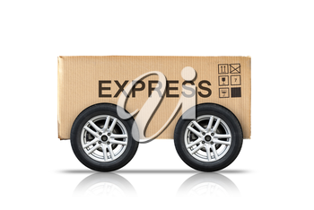 Cardboard box with standard signs and automotive wheels isolated on white background, fast delivery express metaphor