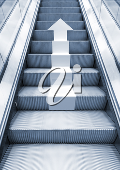 Shining metal escalator with white arrow moving up, perspective effect, Blue toned 3d illustration combined with photo background