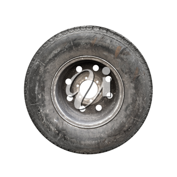 Old used car wheel isolated on white background
