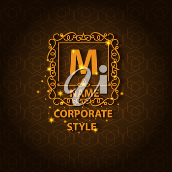 Corporate style ornamental card with pattern, logo floral design, decorated shiny. Vector illustration
