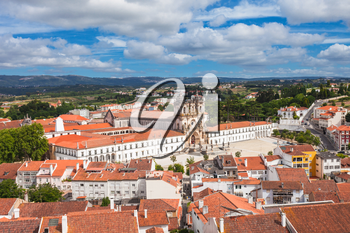 Aerial view of Alcobaca Monastery in Alcobaca, Portugal