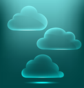 Glassy infographic clouds icons on cyan background