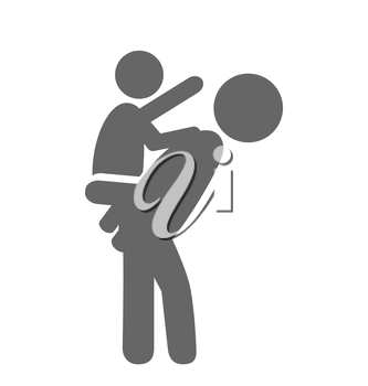 Father and baby play pictogram flat icon isolated on white background
