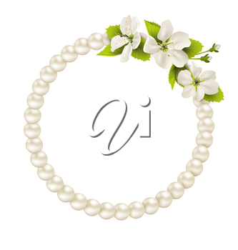 Pearl circle like frame with cherry flowers isolated on white background