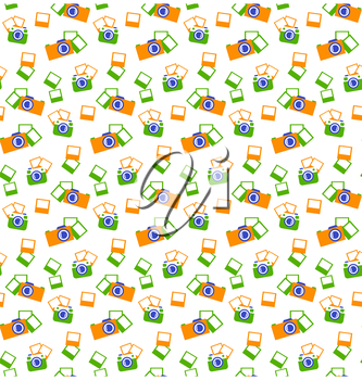 Seamless photo cameras pattern isolated on white background