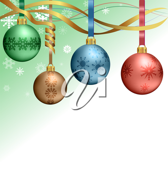 Four multicolored Christmas balls hanging on ribbons