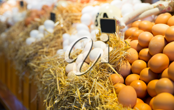 Fresh farm eggs on a straw in market