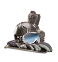 Winter sport glasses, snowboarding boot, helmet and gloves isolated on white background