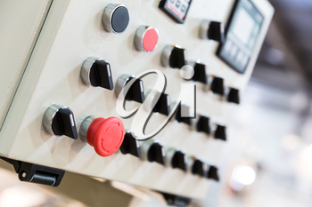 Electro control panel in the factory close up