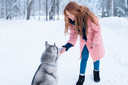 Pretty woman with playful husky dog, snowy forest on background. Cute girl with funs with charming pet