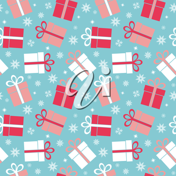 Vector seamless gift pattern on a blue background