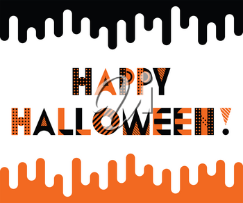 HAPPY HALLOWEEN. Trendy geometric font in memphis style of 80s-90s. Inscription isolated on white background