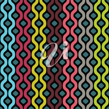 Vector seamless pattern. Abstract  geometric background of colored wavy bands with black stroke
