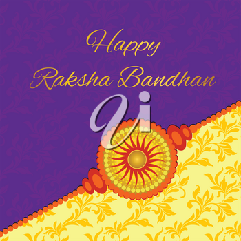 Happy Raksha Bandhan. Elegant greeting card with beautiful rakhi for Indian festival of brother and sister love, celebration. Decorated purple and yellow background with floral design.