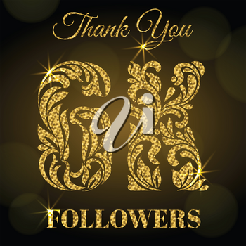 6K Followers. Thank you banner. Decorative Font with swirls and floral elements. Golden letters with sparks on a dark background.
