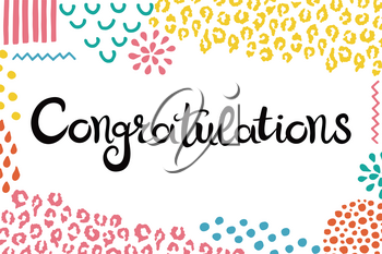 Congratulations. Hand drawn lettering. Background with abstract hand drawn textures. Suitable for banner or card