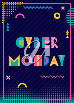 Banner CYBER MONDAY. Trendy geometric font in memphis style of 80s-90s. Text and abstract geometric shapes on striped dark blue background