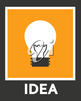 Simple stylish icon bulb. Vector electro design.
