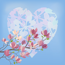 Background for the Valentines Day Holiday, Spring Magnolia tree Branch with Flowers Against The Blue Sky and the Heart of Silhouettes Butterflies. Eps10, Contains Transparencies. Vector