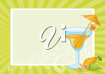 Food and Drink, Glass with Juice, Straw with Umbrella, Pears and Flowers Alstroemeria on the Background with Abstract Floral Pattern and Rays. Eps10, Contains Transparencies. Vector