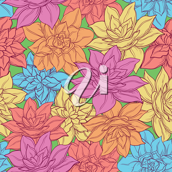 Seamless floral background, pattern of colorful narcissus flowers. Vector
