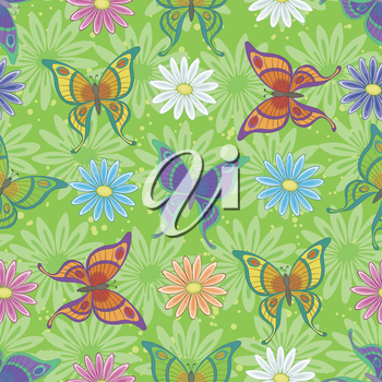 Seamless background, floral pattern, colorful butterflies and flowers. Vector