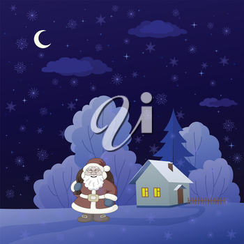 Christmas cartoon: Santa Claus on a snowy winter forest glade with house. Vector