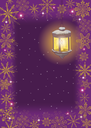 Christmas card: vintage street lamp on a decorative bracket against the starry sky, with a frame of snowflakes. Vector