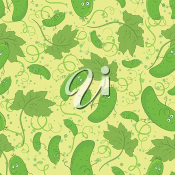 Seamless cartoon background, family of cucumbers, parent and children. Vector