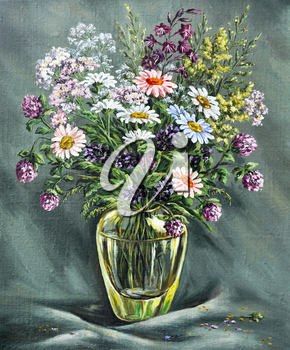 Picture oil paints on a canvas: glass vase with wild flowers