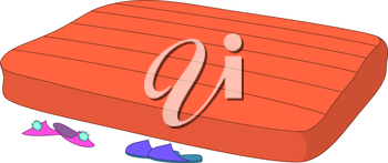 Empty red mattress and mans and womens slippers. Vector
