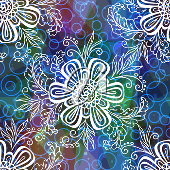 Seamless Background with Tile Contours Floral Pattern, Symbolic Flowers and Leafs and Abstract Ornament. Eps10, Contains Transparencies. Vector