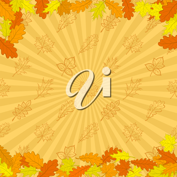 Autumn background - leaves red, orange and yellow on background with rays. Vector