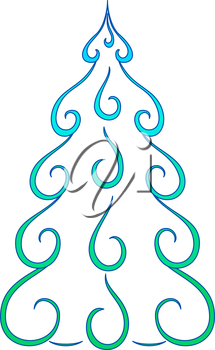Christmas tree, pictogram, holiday symbol openwork, isolated on white background. Vector