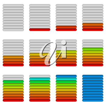 Set of Glass Colorful Loading Progress Bars at Different Stages, Elements for Web Design. Vector Eps10, Contains Transparencies