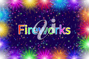 Holiday Background with Confetti, Streamers and Frame of Various Colorful Fireworks. Eps10, Contains Transparencies. Vector