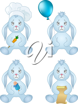 Rabbits, little bunny holds gifts in paws: holiday balloon, ice cream, carrot, scroll. Vector