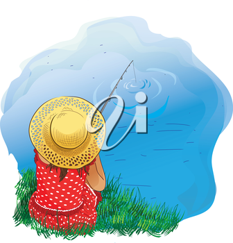 Illustration of a girl fishing on the shore