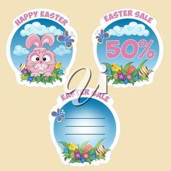 Price sticker with text Easter sale with the Easter Bunny