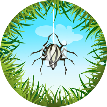 Insects and summer nature icon. spider hanging on the web