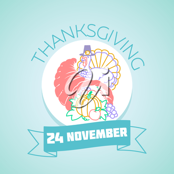 Calendar for each day on November 24. Greeting card. Holiday - Thanksgiving day. Icon in the linear style
