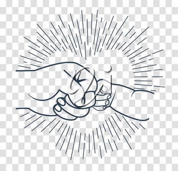 concept of male friendship, for the holidays of his father, in the form of a gesture of greeting between father and child.  Icon Vatertag . fathers day. silhouette icon in the linear style
