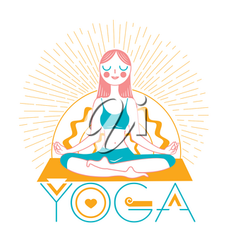 banner of yoga in the form of an icon of a girl yoga on a background of rays. Icon in the linear style