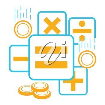 Сoncept of checking  work of the accountant, accounting, businessman, financier, statistician in the form of calculator buttons and falling coins. Icon in the linear style