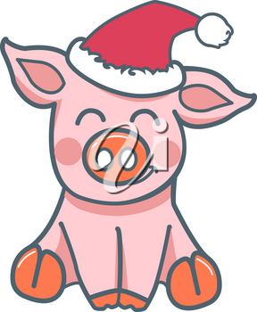 icon of a little pig in the cap for the new year. Icon in flat style