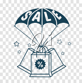 concept of purchases, sales of goods as parachute with the inscription sale and packages. icon, silhouette in the linear style