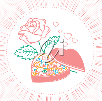 icon for Valentine's day in the form of a box of chocolates in the form of a heart and roses. Icon in the linear style