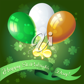 Saint Patricks Day festive greeting card with golden shamrock and balloons.